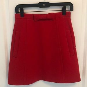 Mui Mui - Red A-Line Pockets & Bow Miniskirt